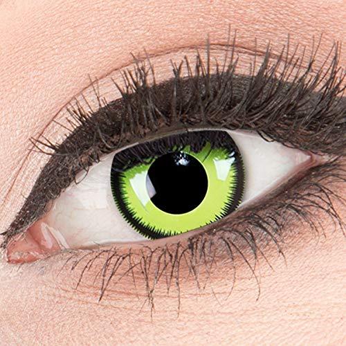 MeralenS ein Paar farbige Crazy Fun grüne lunatic Green Lunatic schwarzer Rand Jahres Kontaktlinsen. Perfekt zu Halloween, Karneval, Fasching oder Fasnacht mit gratis Kontaktlinsenbehälter ohne Stärke! (Grün Halloween Make-up Neon)