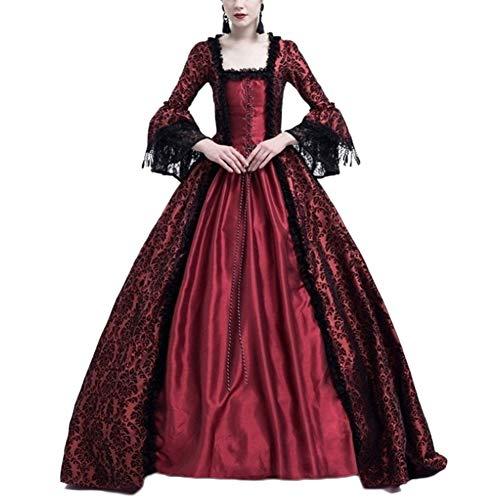 Damen Langarm Renaissance Mittelalter Kleid Viktorianischen Königin Kostüm Maxikleid Burgunderrot S