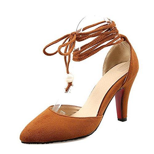 VogueZone009 Femme à Talon Haut Dépolissement Couleur Unie Lacet Pointu Chaussures Légeres Brun