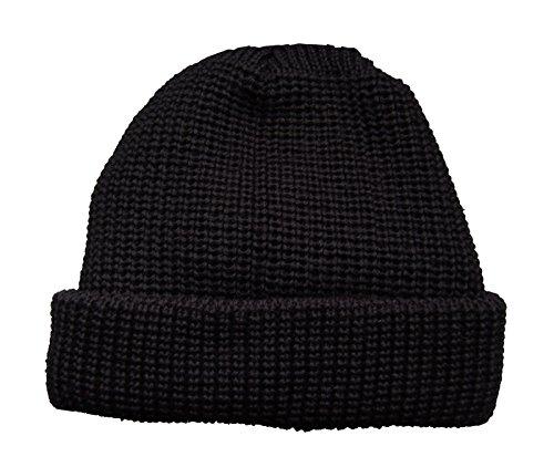 HANSEHELD Troyermütze 100% Schurwolle Strickmütze aus Wolle, One Size, schwarz