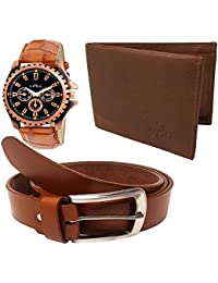 XPRA Analog Watch, Brown PU Leather Belt & Brown Leather Wallet for Men/Boys Combo (Pack of 3) - (WL-3CMB-22)