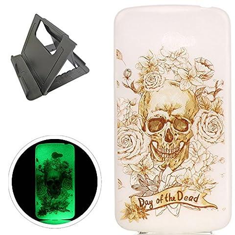 LG K5 hülle,[Mit freiem schwarzem Kickstand] Keyye [Kreative Luminous Durable] Silikon hülle,Aquarell Drucken Muster [Anti Staub]SchlankWeich gel TPU Schrubben Transparent Schutzhaut fluoreszierend Grüner Effekt Nacht Glühen in der Dunkel Portable Cover für LG K5-Skelett Rose