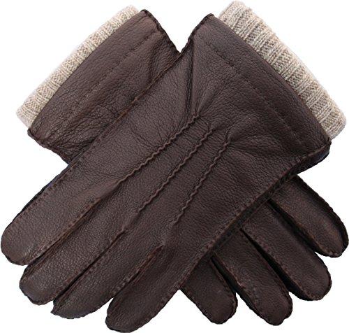 EEM Herren Lederhandschuhe EDGAR aus echtem Hirschleder, Strickfutter aus 50% Kaschmir und 50% Wolle, braun S