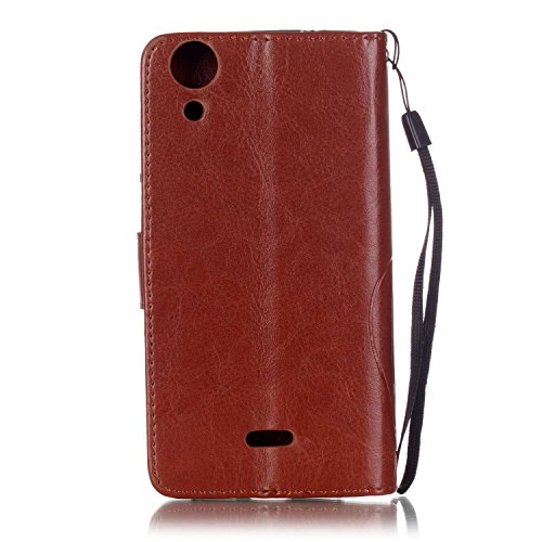 Wiko Rainbow Lite Custodia, Wiko Rainbow Lite Cover, Wiko Rainbow Lite Custodia Pelle Portafoglio, JAWSEU [Shock-Absorption][Anti Scratch] Lusso 3D Goffratura Fiore Farfalla Wallet Leather Flip Cover  Diamante Fiore, Marrone