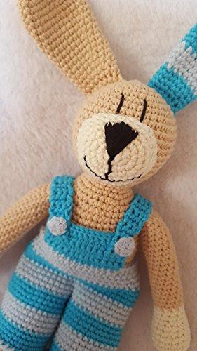 personalisierte gehäkelte Puppe in WAHLFARBEN - schönes Geschenk - Hase mit Latzhose oder Kleidchen - BIO - Baumwolle - handgemacht