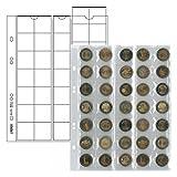Lindner 2 x Multi Collect Münzhüllen - Ergänzungsblätter Nr. MU35 Ideal für 2 Euro Münzen für Münzen bis 27 mm + Schwarze Zwischenblätter