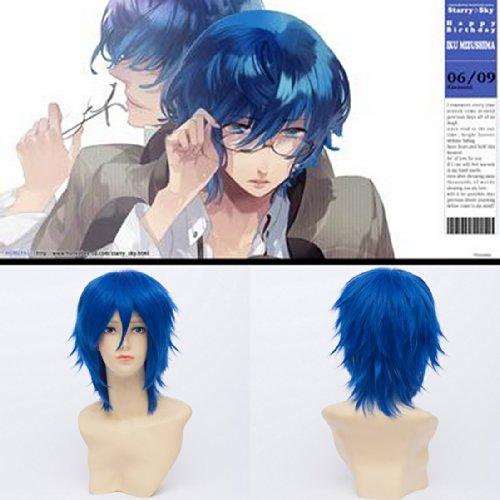 30Cm Résistant À La Chaleur Courte Mizushima Iku Royale D'Anime Bouclés Bleu Perruque Cosplay
