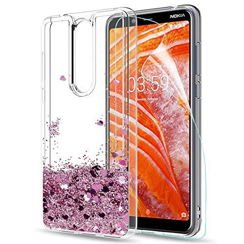 LeYi Hülle Nokia 3.1 Plus Glitzer Handyhülle mit HD Folie Schutzfolie,Cover TPU Bumper Silikon Flüssigkeit Treibsand Clear Schutzhülle für Case Nokia 3.1 Plus Handy Hüllen ZX Rot Rosegold