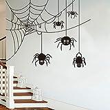 Modeganqingg Spinne Halloween Wandaufkleber Kinderzimmer Schlafzimmer Spinnennetz Tier Weihnachten Wandtattoo Party Wohnzimmer Vinyl Dekoration 100 cm X 79 cm