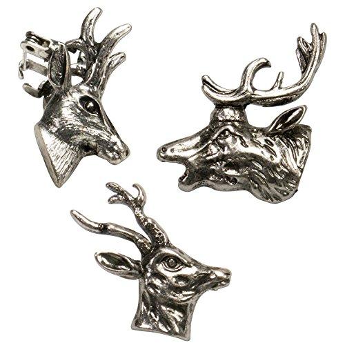 Broches de ciervos, juego con 3 variantes, color plateado, antiguo, API069