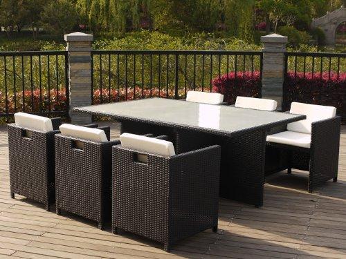 Chalet et jardin ENSEMBLE MICHIGAN composé d'1 table + 6 fauteuils