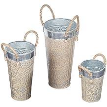 Set di 3 French stile benna fioriere con manico rustico ferro fiore vaso da fiori vaso giardino della casa accessori decorativi