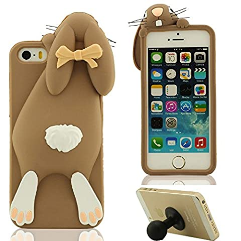 3D Hübsch Mode Hase Aussehen Weich Silikon Gel iPhone 5