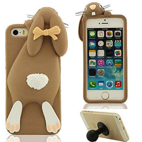 3D Hübsch Mode Hase Aussehen Weich Silikon Gel iPhone 5 5C Hülle HandyHülle Handy Tasche, Apple iPhone 5S SE Case, Karikatur Tier Stil Cover Anti-Shock + Silikon Halter - Braun