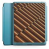 Apple iPad 2 Smart Case hellblau Hülle Tasche mit Ständer Smart Cover Dachziegel Ziegel Look Pattern