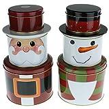 MACOSA CE43605 Gebäckdosen 6er Set Metalldose Schneemann & Weihnachtsmann Weihnachtsdose Aufbewahrungsdose Plätzchen Vorratsdose Geschenk-Verpackung