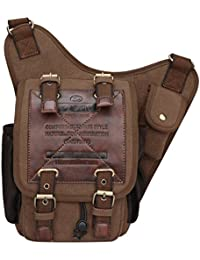 S-ZONE Herren Utility Leinwand Leder Schulter Militär Patchwork Tasche Versipack Umhängetasche Handtasche Brusttasche