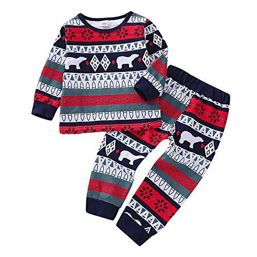 (Baby Jungen Weihnachtssets Cartoon Oberteile Familien Pyjamas Babymode Nachtwäsche 2 Jahre alte bis 7 Jahre Schlafanzug Set Tops + Hosen Felicove)