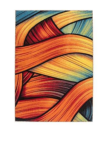 Preisvergleich Produktbild Designer Teppich Modern Flachflor Graphic carpet Tapis Heatset Rainbow 80x150cm