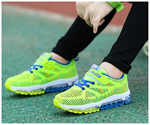 NEWZCERS bambini unisex a cuscino d'aria respirabile moda di assorbimento urti scarpe da corsa scarpe da ginnastica Verde