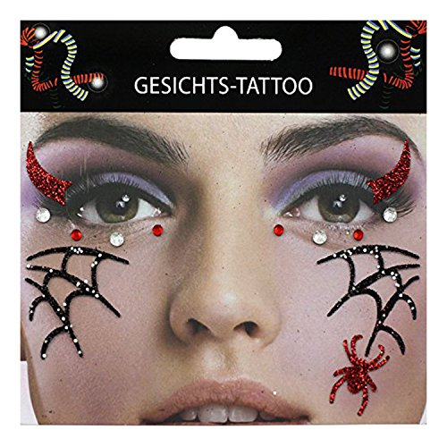 Gesichts-Tattoo Face Art Spinne Spinnennetz Halloween (Up Make Halloween Geist)
