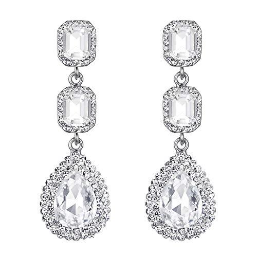 Clearine Damen Fashion Quadra Kristall Hochzeit Braut Ttropfen Bead Dangle Statement Ohrringe Silber-Ton Klar