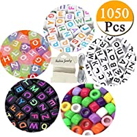 "1050pcs Acrylic Alphabet Letter Beads Kandi Beads""A-Z"" Cube Beads 4 Colors with Colorful Beads for Kids DIY Necklace Bracelet,2 Beading Cords Included (6mm)"