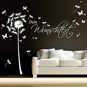 Wandtattoo Pusteblume Schmetterling mit Ihrem Wunschtext bis zu 15 Wörter frei wählbar/weiß / 1,14 m Höhe x 3,59 m Breite