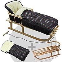 BAMBINIWELT KOMBI-ANGEBOT Holz-Schlitten mit Rückenlehne & Zugseil + universaler Winterfußsack (108cm), auch geeignet für Babyschale, Kinderwagen, Buggy, aus Wolle (schwarz bunte Punkte)