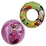 Unbekannt Wasserball & Schwimmring Micky Maus Minnie Maus Strandset (Rosa-Grün)
