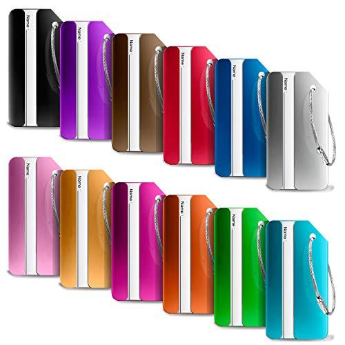ivencase 12 Pezzi Etichette Viaggio Etichette Valigia Alluminio per Identificare Bagagli Viaggio bagagli Tag 12 colori diversi