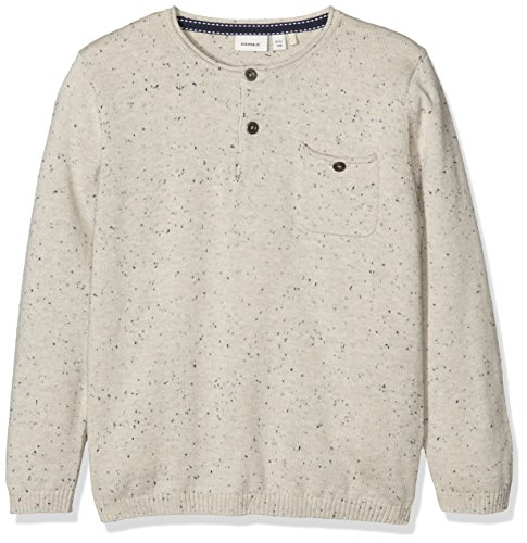 NAME IT Jungen Langarmshirt Nitsinis LS Knit Top Nmt Beige (Peyote), 128 (Herstellergröße: 122-128) (Henley Sleeve Long Knit)
