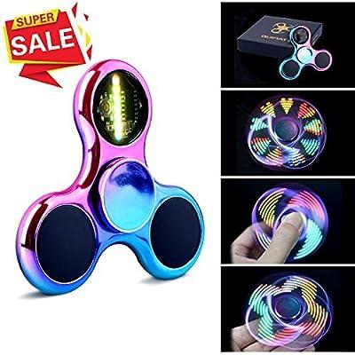 Fidget Spinner Spinner de Mano Quimat con LED Se encienden Juguetes para dedos EDC 18 modalidades de parpadeo perfecto para niños y adultos (colorido) de Quimat