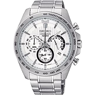 Seiko-Herren-Chronograph-Quarz-Uhr-mit-Edelstahl-Armband-SSB297P1