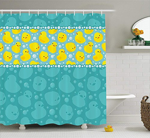 LZHsunni88 Rubber Duck Shower Curtain Set by, Cute Yellow Cartoon Duckies Swimming in Water Pattern with Fun Bubbles Aqua Colors, Fabric Bathroom Decor with Hooks, 70 Inches, Teal Blue