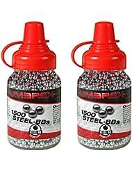 Pack 2 biberones bolas acero Umarex Steel BBs (4,5mm) 1500 piezas cada unidad