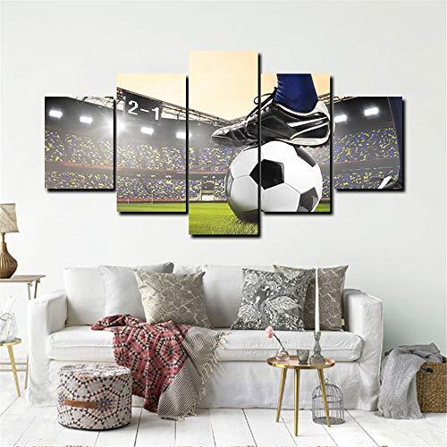 WSNDG Decoración del hogar Pintura sin Marco Cinco Potencia de Fuego Baloncesto, fútbol Tiro Lienzo Pintura sin Marco A1 20X35cmX2 20X45cmX2 20X55cmX1
