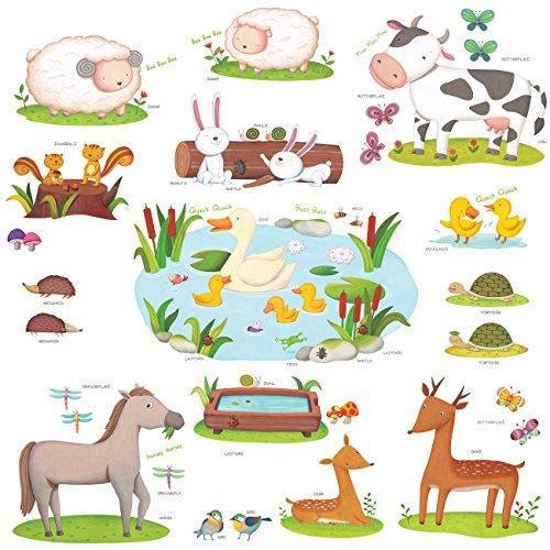 Decowall DW-1403 Campo de Animales Vinilo Pegatinas Decorativas Adhesiva Pared Dormitorio Salón Guardería Habitación Infantiles Niños Bebés