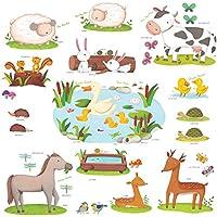 Decowall DW-1403 Campo degli Animali Adesivi da Parete Decorazioni Parete Stickers Murali Soggiorno Asilo Nido Camera da Letto per Bambini (Ver. Inglese)