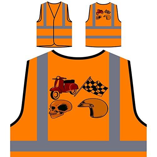 Verrückter Vespa-Schädel mit Helm Personalisierte High Visibility Orange Sicherheitsjacke Weste u646vo