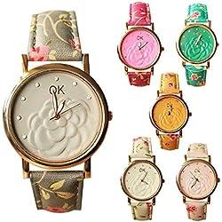 SSITG 3D Camellia Diamond Leather Bracelet Watch Flower Quartz Bracelet Watch Gift