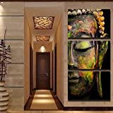 Best Pictures For Living Room Decors - 3 Panels Canvas Framed Print Coloured Buddha Painting Review