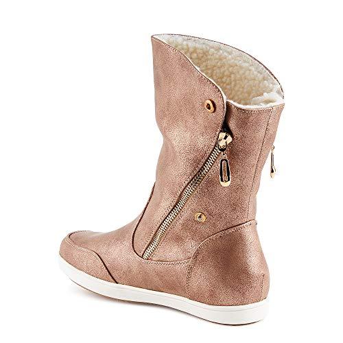 Fusskleidung Damen Boots Flach Gefütterte Schlupf Stiefel Stiefeletten Rose Gold EU 40