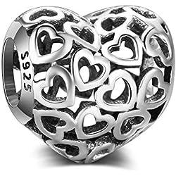 Abalorio de todos los corazones de plata de ley 925 auténtica, compatible con pulseras y collares Pandora y todos los europeos