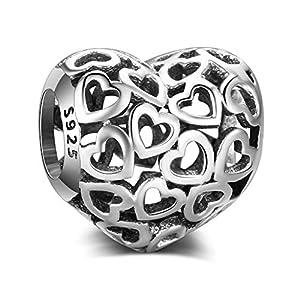 """""""All Hearts""""-Glücksbringer/Anhänger aus echtem 925er-Sterlingsilber, für Pandora- und alle europäischen Charm-Armbänder und Halsketten"""