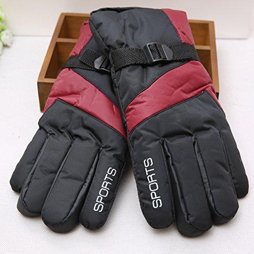Uomini antivento e caldo guanti da sci, moto a Cavallo inverno guanti di cotone,vino (Cappello Di Inverno Guanti)