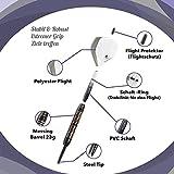 Dart Set – 23g – inklusive Dartzubehör – Edle Wurfpfeile aus Messing – Flight Protektoren inklusive – Robuste Darts mit Steel Ti – Schaft Ringe – Überaus Stabile Dartpfeile – Reserve Flights - 6
