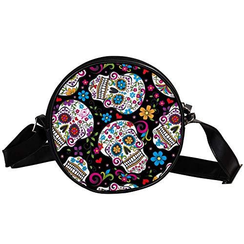 TIZORAX mexikanischer Sugar Skull Blumenmuster Kleine Kreuze Handtasche Handtasche für Frauen Mädchen