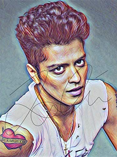 Bruno Mars Drawing Print Poster Hand Drawn Coloured Pencil Singer #BRUNO3