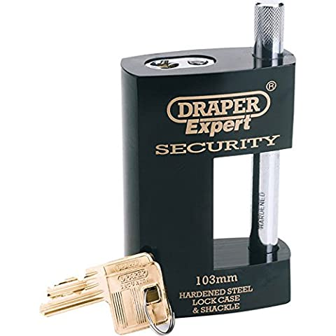 Precise Engineered Draper SX-64204 82mm Expert Quality Heavy Duty Electric Plated Stainless Steel Close Shackle Padlock & 2 Keys With Hardened Steel Shackle & Replaceable S [Pack of 1] - w/3yr Rescu3®